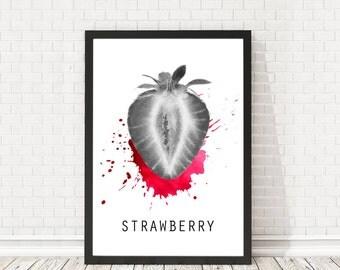 Strawberry poster, Kitchen print, Strawberry print, Kitchen decoration, Minimal design, Home wall art, PRINTABLE poster, Fresh fruit poster