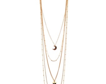 """Neckless gold 5 rangs """"The Sun has rendez-vous with the Moon"""""""