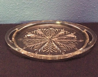 Vintage Jeanette Glass Feather Oval Tray with Open Handles
