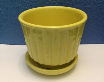 Vintage McCoy Yellow Bamboo Planter with Attached Saucer