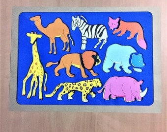Stencil, Animal Stencil, 8 Animals, Zoo Stencil, Jungle Stencil, Art & Craft, Journal, Hard Clear Plastic, 26.5 x 8.3 cm