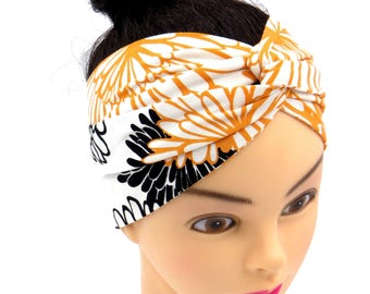 floral black extra wide headband boho hairband wide bandana top selling best selling items summer beach head covering wide head wrap orange