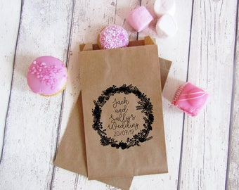 Personalised wedding favour bags - floral wedding favours - wedding sweet bags - cookie bags - candy buffet bags - wedding treat bags