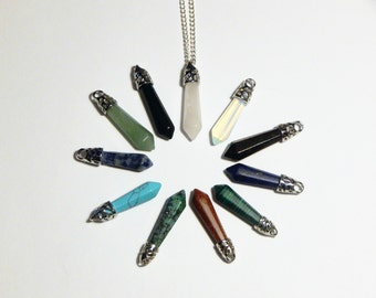 Crystal Point Necklace, Crystal Necklace, Crystal Pendulum Necklace, Crystal Pendant, Healing Crystal, Quartz Crystal, Rose Quartz, Crystal