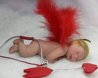 Baby Cupid of polymer clay, 10 cm