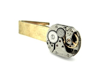Steampunk Tie Bar Clip - Industrial Tie Clip - Mechanical  Tie Clip - Clockworks Tie Bar Clip - Watch Parts Tie Clip - Steampunk Accessories