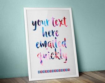 Custom word art digital download, Your Words Printable, Rainbow typography Art, printable wall art, printable personalised quote, home decor