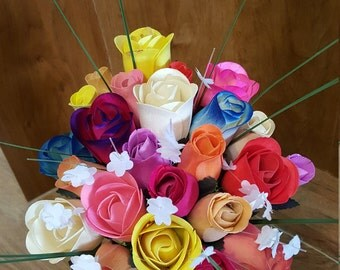 Rainbow Wooden Roses