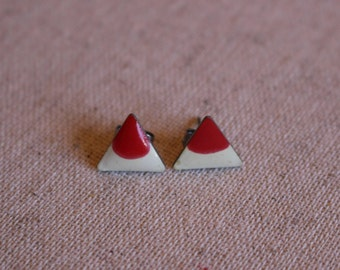 Enamel Triangle Earrings