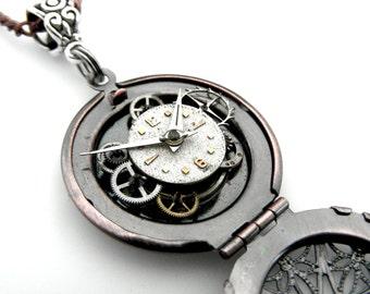 Wearable Art Locket - Industrial Locket - Clockworks Locket Pendant - Copper Locket Necklace - Watch Parts Locket Pendant - Locket Pendant