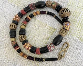 African beads // African Style // Ethno Style // Millefiori Murano trade beads // Krobo glass beads// Onyx // Bronze //