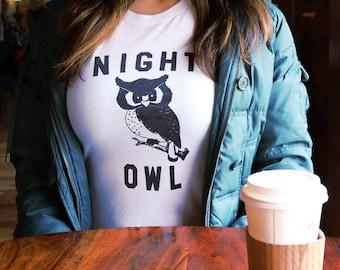Owl, Owl Shirt, Night Owl, Graphic Tee, Woodland Animals, Cute Animals, Animal, Hoot, Funny Tshirts