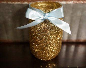 3 Gold Glitter Mason Jars , Blue Ribbon, Centerpiece, Decoration, Mason Jar, Gold Glitter, Glitter Mason Jar, Babyshower, Bridalshower