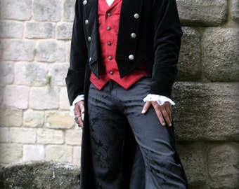 "Velvet Pirate / Period Style Mans Coat - ALL BLACK - Chest 42"" and 46"""