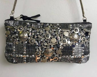 Metal Sequin Beaded Clutch // Beaded Evening Bag BARGANZA sorpresa!