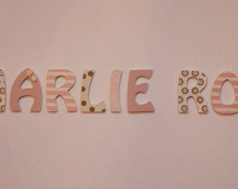 "Custom letters, ""Old pink and gold"" pattern"