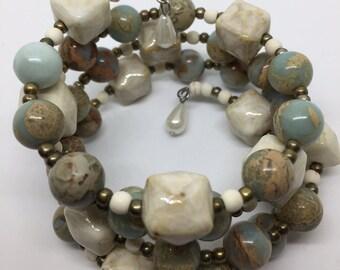 """Memory Wire Wrap Bracelet """"Serenity"""" with Jasper Gemstone Beads"""