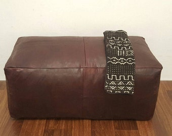 Oversized Authentic Moroccan Leather  Pouf , Handcrafted Leather Pouffe ottoman ,Footstool, OVP01