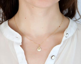 Vermeil gold jewelry tiny shell necklace womens necklace womens gift for women bridesmaid gift for bride summer necklace girlfriend necklace