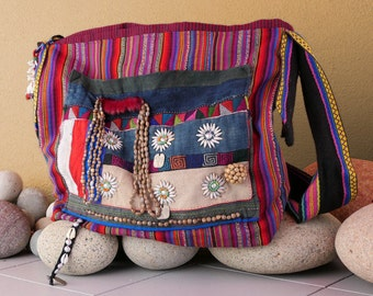 Striped Woven Fabric Handbag with Vintage Embellishment - Handmade Purse