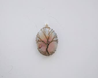 Smooth Ocean Agate tree of life pendant