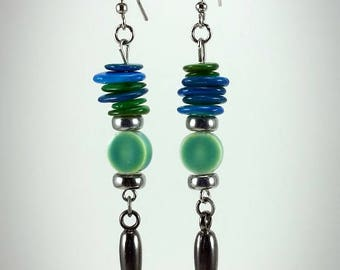 Blue and Green Earrings with Silver Sharp Tip Drops - Handcrafted