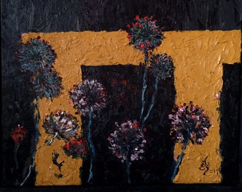Night flowers bloom also under Moon light-Abstract oil paintings-Dim. 53 x 53 cm
