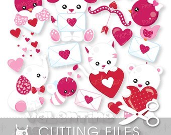 Valentine Animals cutting files, svg, dxf, pdf, eps included - cutting files for cricut and cameo - Cutting Files SVG - CT939
