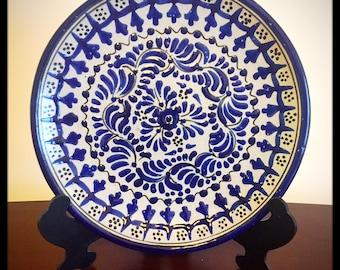 "Mexican Talavera pottery. Complete 7 piece dinnerware set. Design name ""Romo""."