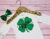 Customized Clover Heart Saint Patricks Day Baby Girl/ Baby Boy Onesie, St Pattys Day Onesie, Headband, Bodysuit, St Pats Day
