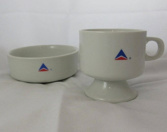 Vintage Delta Airlines Cup + Bowl