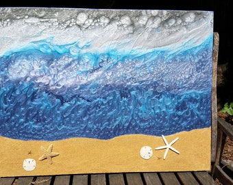 Ocean and Starfish, original abstract art, Pebeo paints, resin, sand medium