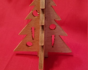 3D Christmas Ornament, Christmas Tree, Christmas Ornament, Scroll Saw, Wood, Stained