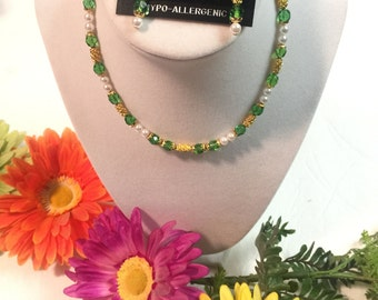 Green Fire Polished Glass Beaded Necklace