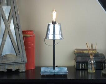 Handmade Custom Bucket Lamp - Unique Lamp - Rustic Lamp - Desk Lamp - Table Lamp - Shabby Chic - Lamp Gift