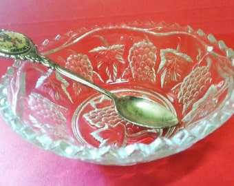 Vintage depressed glass bowl with grapes and vine leaves
