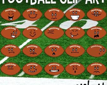 Football Clip art, Football Emoticons, Football Face, Sports Clipart, School Download, Football Cartoons, Football Download, Football Season