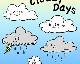 Cloud Characters Clip Art, Cloudy Days Clipart, Digital Clouds, Cloudy Sky Art, Storm Cloud, Rain Cloud, Happy Cloud, Classroom Clip Art