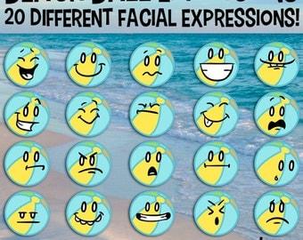 Beach Ball Emoticons, Beach Ball Clip Art, Summer Vacation Art, Facial Expressions, School Clip Art, School Download, Smiley Face Clip Art
