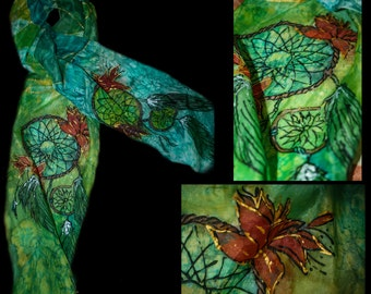 Hand painted silk scarf, one of a kind, high quality paint, dreamcatcher