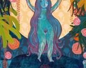 Diosa Durga Luna. Print. Póster.