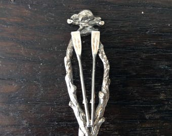 Antique Canadiana Sterling Spoon / Beaver / Paddles / Canoe / Outdoors / Minnedosa / Canada