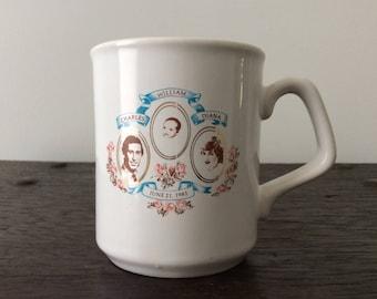 Vintage Birth of Prince William Mug / 1982 / Royalty / Lady Diana and Prince Charles