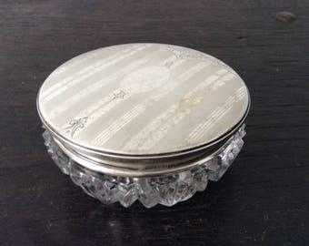 Antique Sterling Silver Dresser Jar / Jewellery Jar / Birks / Crystal Glass / Receiver Jar / Industrial / Rustic/ Modern