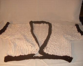 Ecru and Chocolate Brown Crocheted Sweater