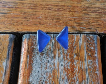 mismatched  blue earrings, casual earrings, triangle earrings, summer jewelry, everyday earrings, casual look, gift for girlfriend, under 20