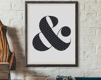 Instant Download! Vintage Polkadot Ampersand Print - Digital File Only