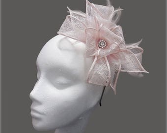 Tea party hat, pale pink sinamay fascinator, wedding, diamanté, bridesmaid headpiece, headband, garden party, mother of the groom or bride