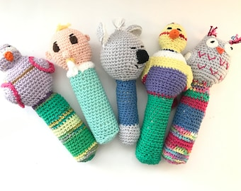 Baby Rattle and Squeaker, handcrochet, soft cotton, baby toy