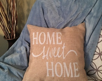 Burlap Home Sweet Home pillow